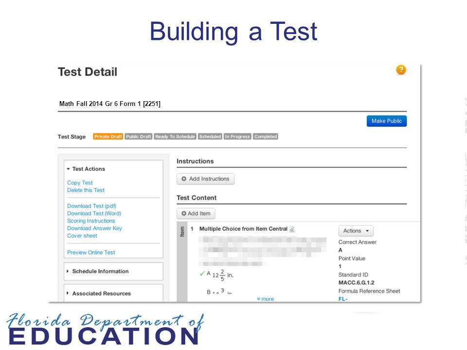 Building a Test Math Fall 2014 Gr 6 Form 1 [2251]
